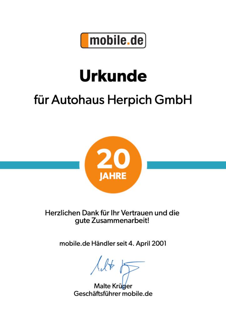 Urkunde 20 Jahre Autohaus Herpich